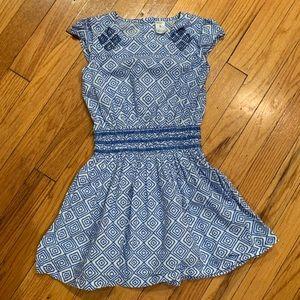 CARTER'S Blue&White Geo Diamond Print Kids' Dress
